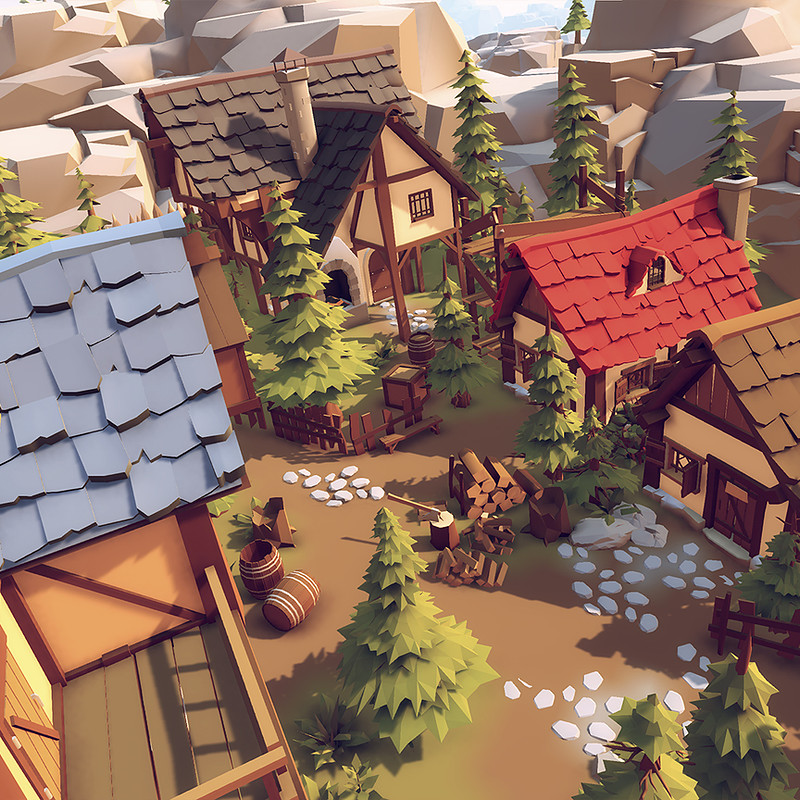 """Low poly"" (stylised/cartoon) 3d asset pack."