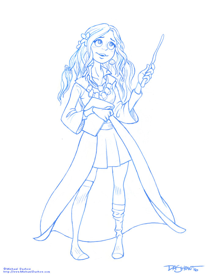 Michael dashow luna lovegood line art 671x900