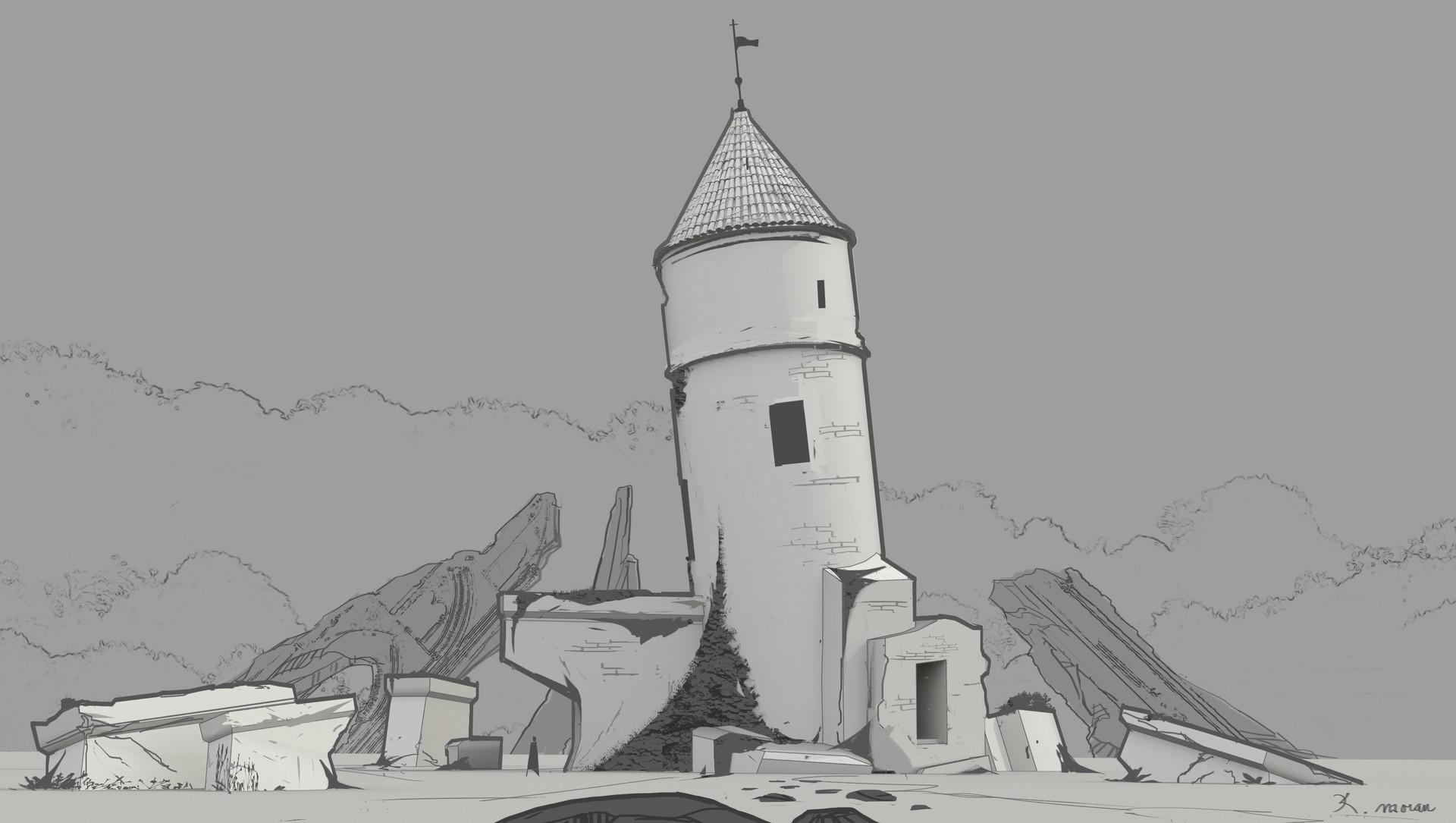 Crumbled tower