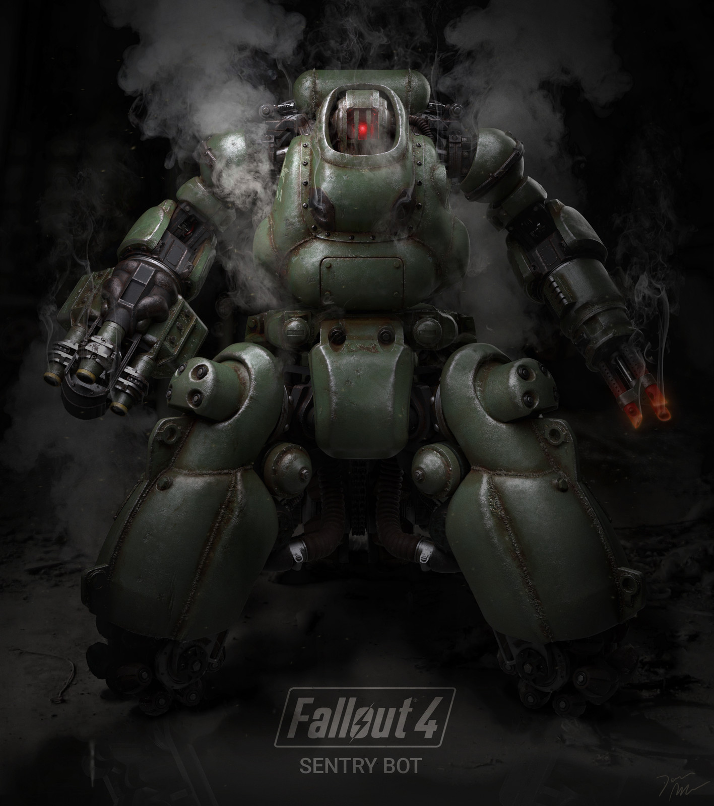 ArtStation - Fallout 4 Sentry Bot Poster 1, Dennis Mejillones