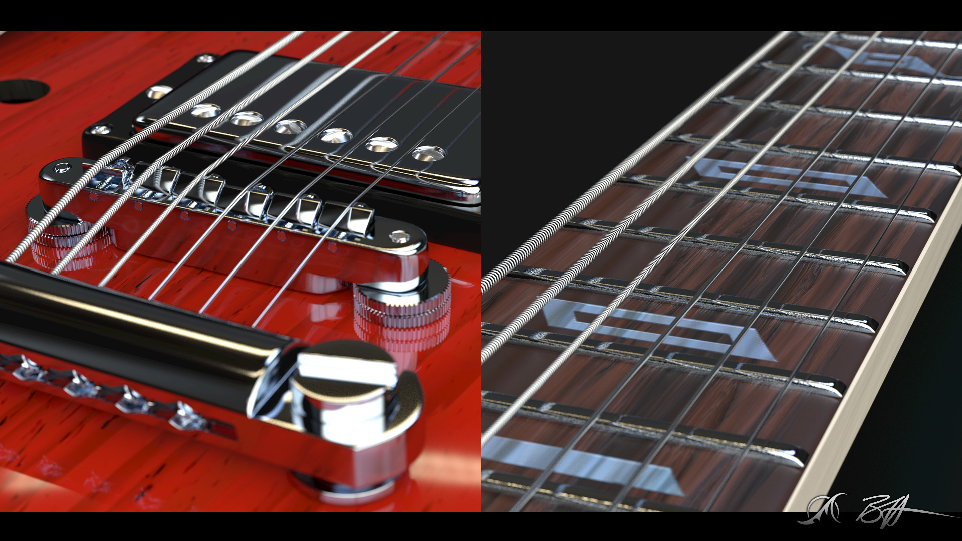 Bridge and fret board design closeups