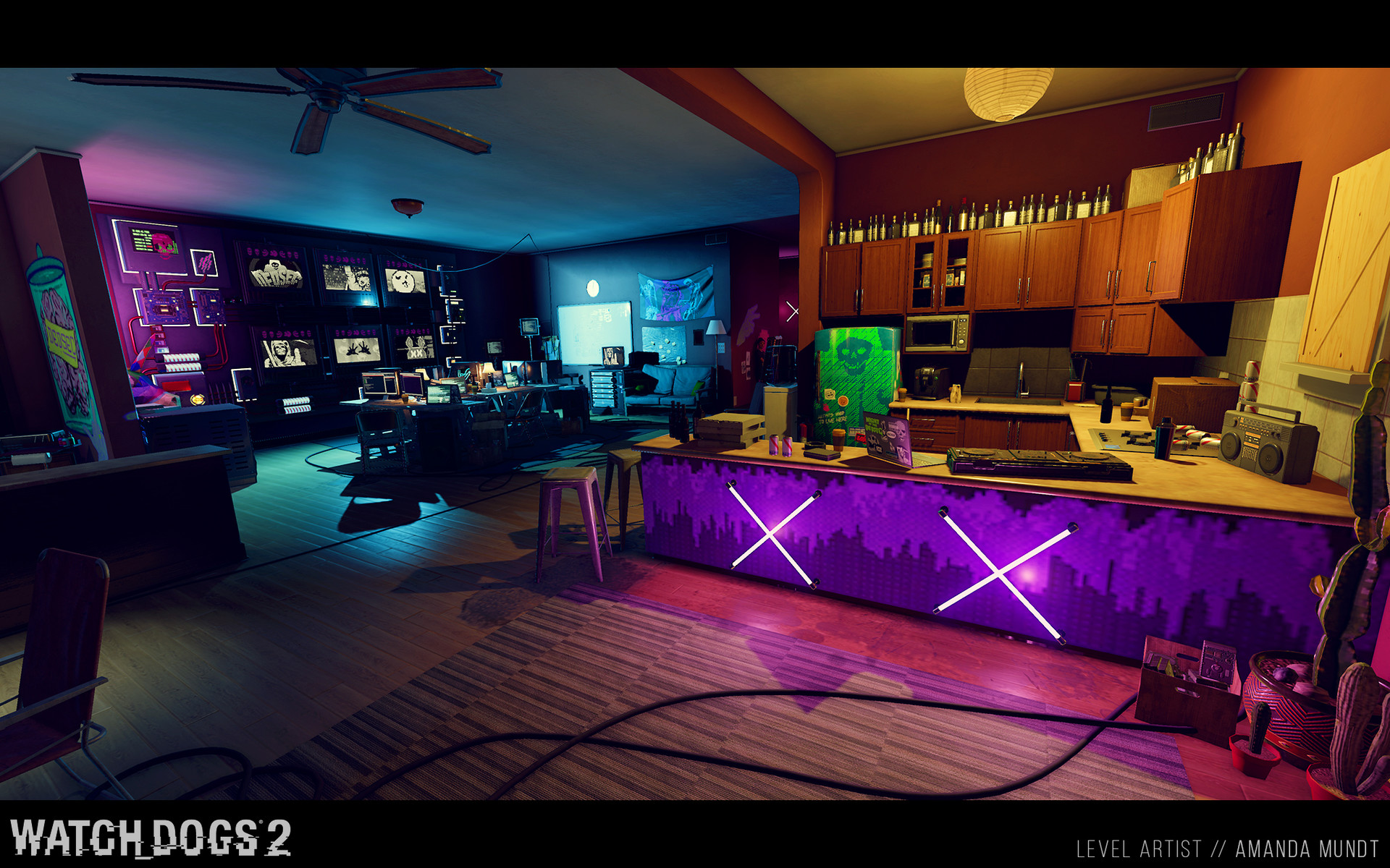 ArtStation - Watch Dogs 2 - Hacker Spaces, Amanda Mundt