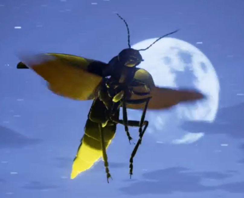 Firefly in flight at night, glow is activated with mouse button