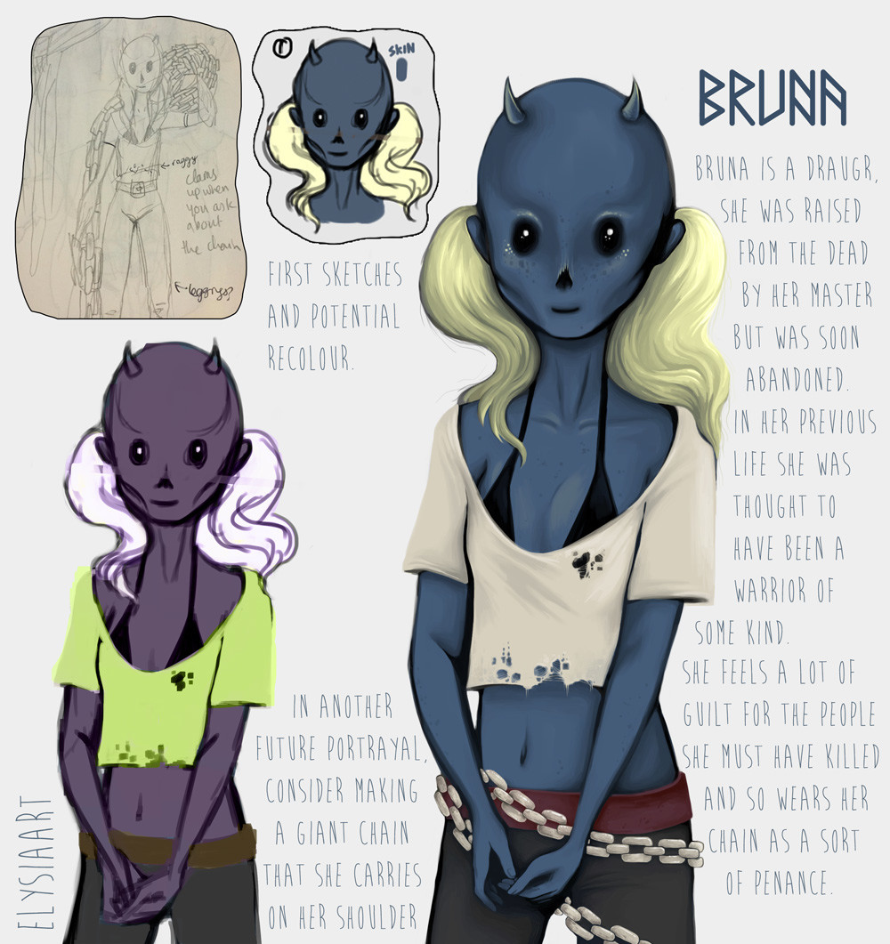 Initial character design for Bruna, a draugr/wight.