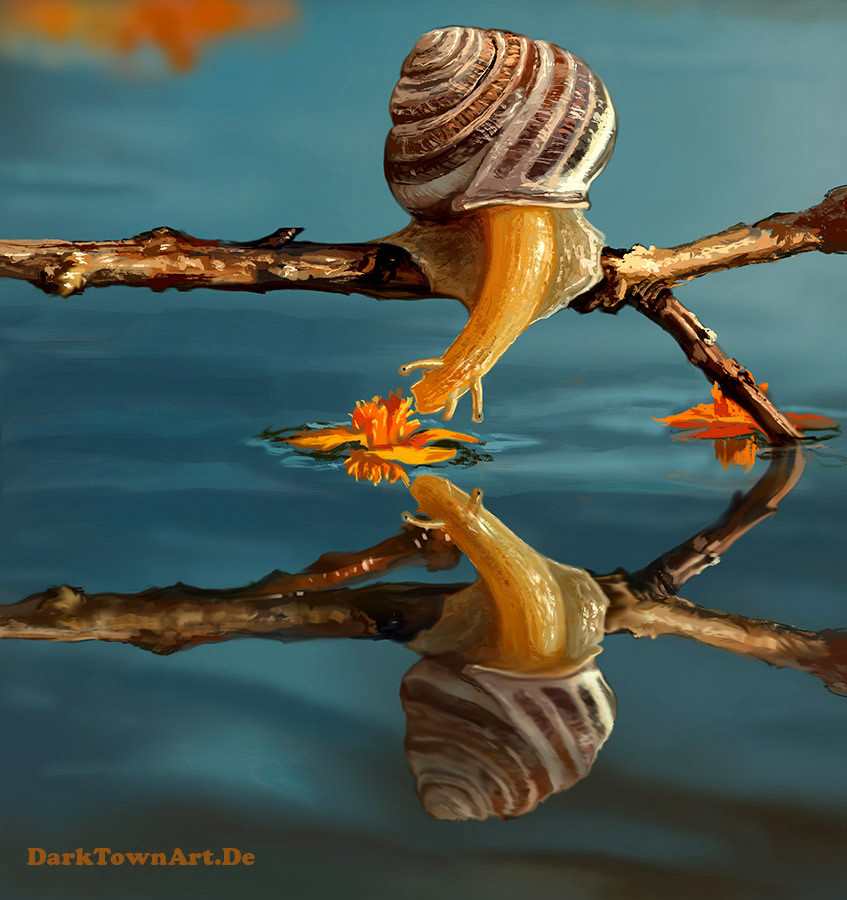 Anne pogoda a snail kissing water painting study by zombiesandwich d7wt8sk