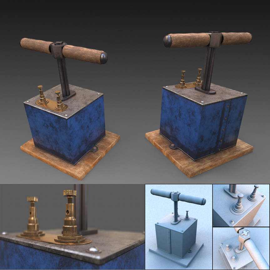 3d model of dynamite detonator, download it for free on the sketchfab site