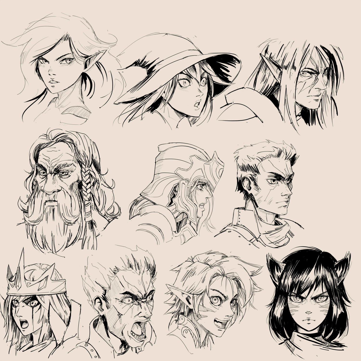 remy paul fantasy faces sketches