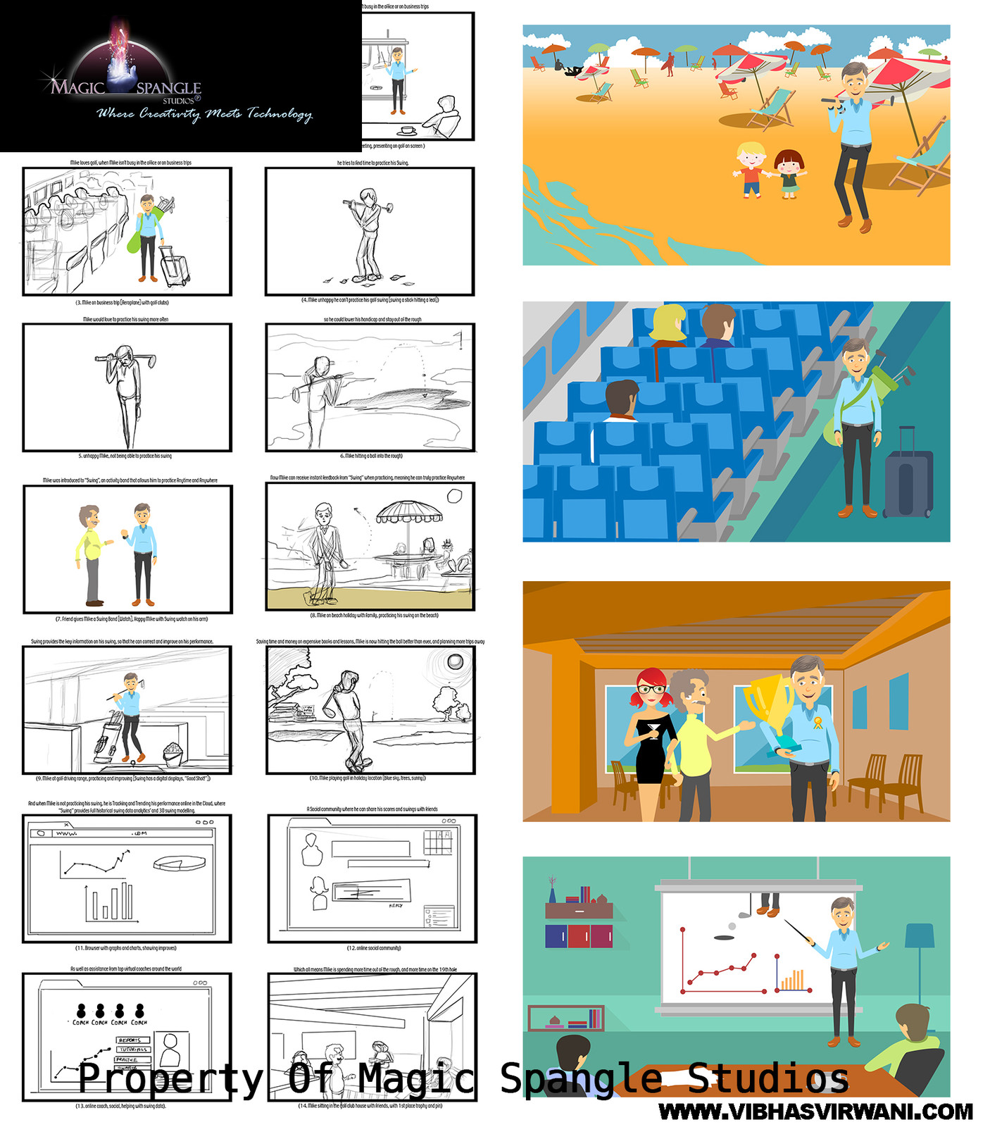 storyboards for a product : Swing