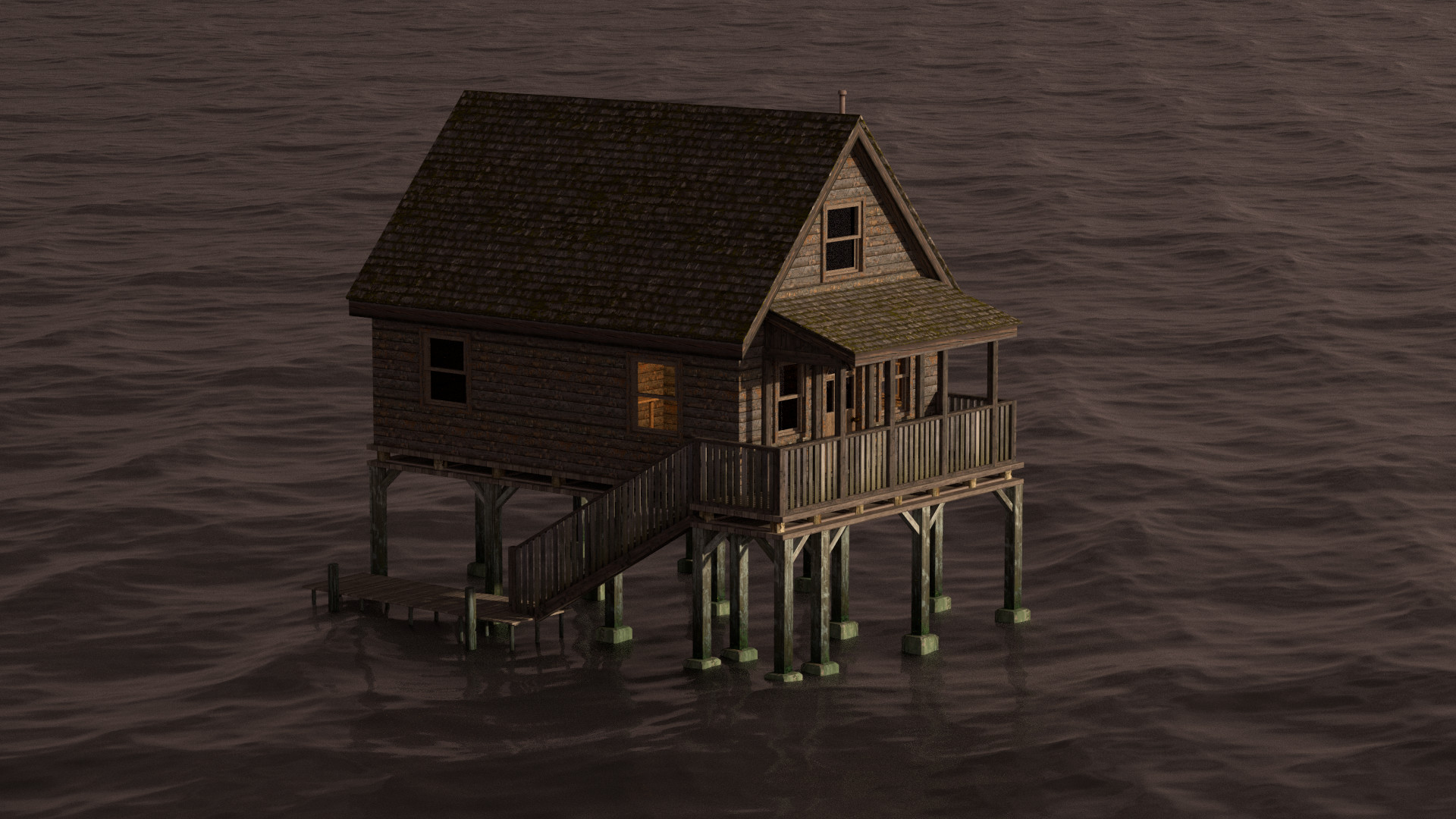 WIP 07: Das Wasser kommt über den Ocean-Modofier. Zusätzlich noch neue Materialien und Anpassungen im Innenbereich.