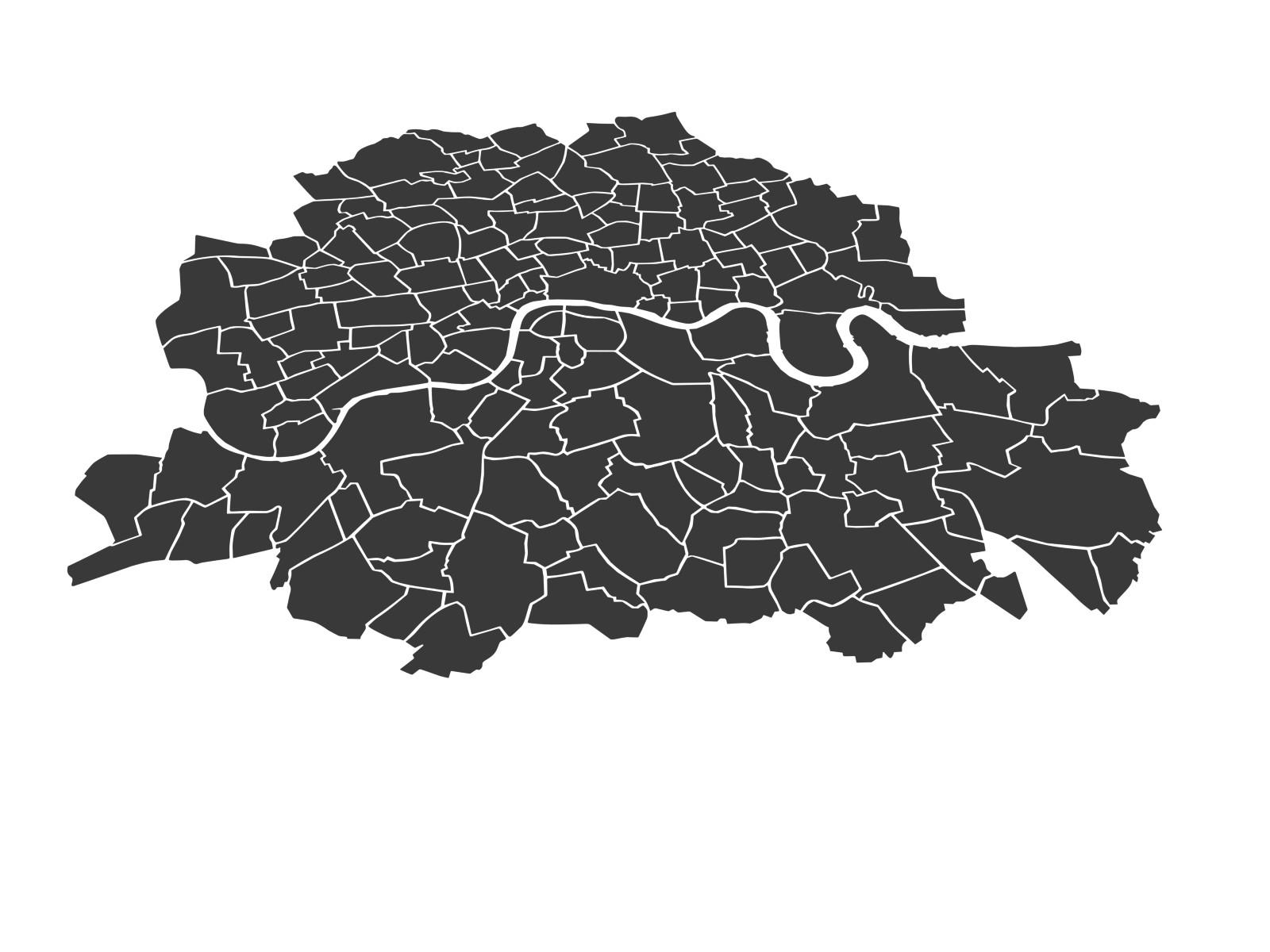 Der ursprüngliche Stadtteilplan von London. Musste allerdings angepasst werden.