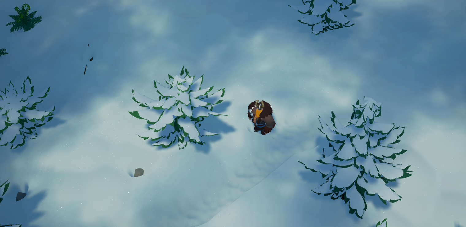 the player and objects displace the snow