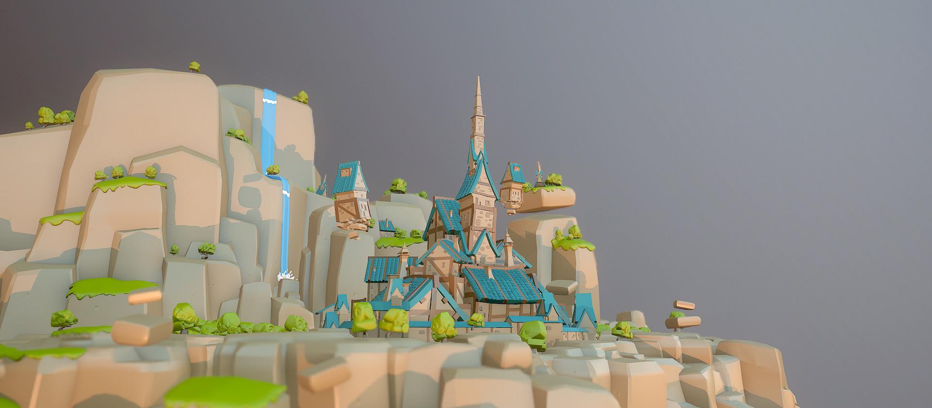 Basile arquis basile arquis low poly fantasy town 01