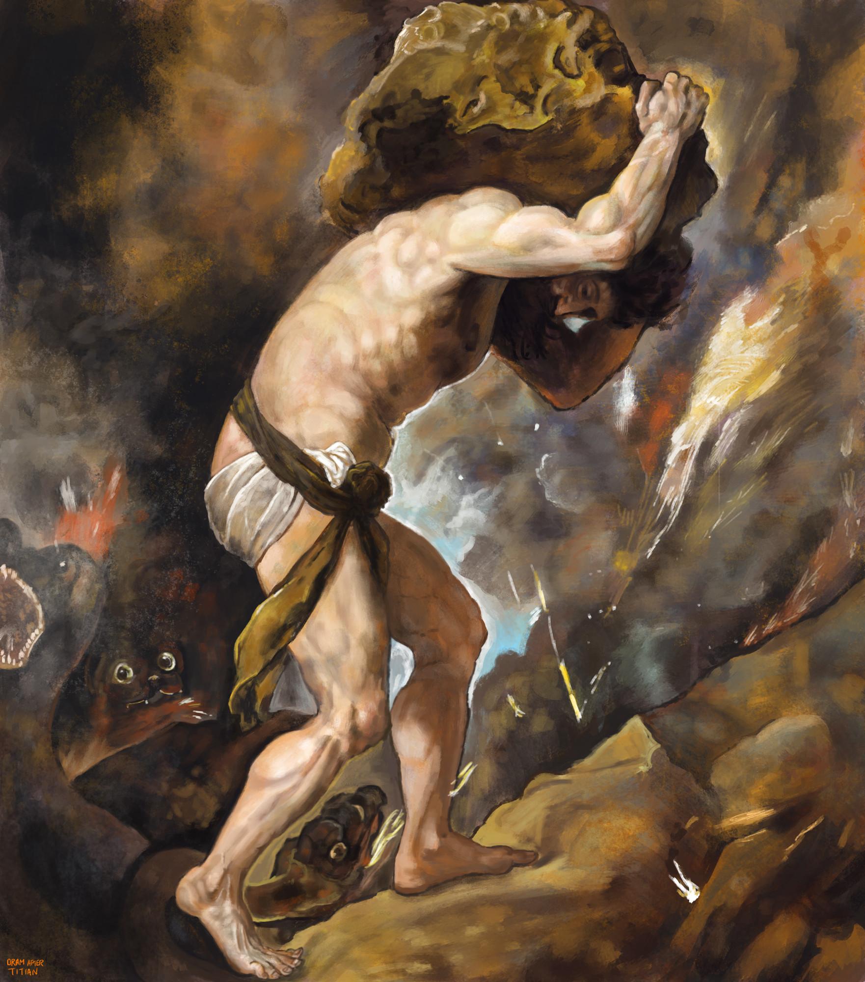 ArtStation - MASTER STUDY - Sisyphus, Titian 1548-9, luke oram