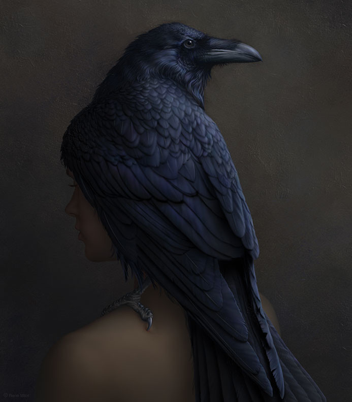 Rene milot anguished woman raven concept illustrationrene milot
