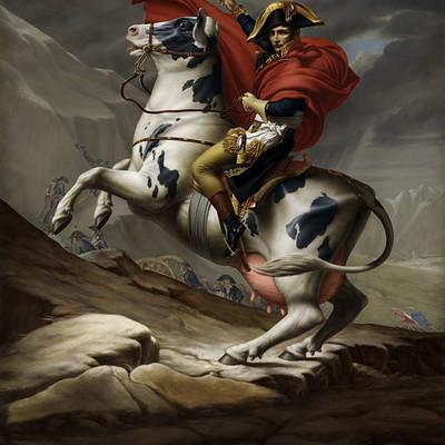 Rene milot napoleon horse cow painting illustration rene milot
