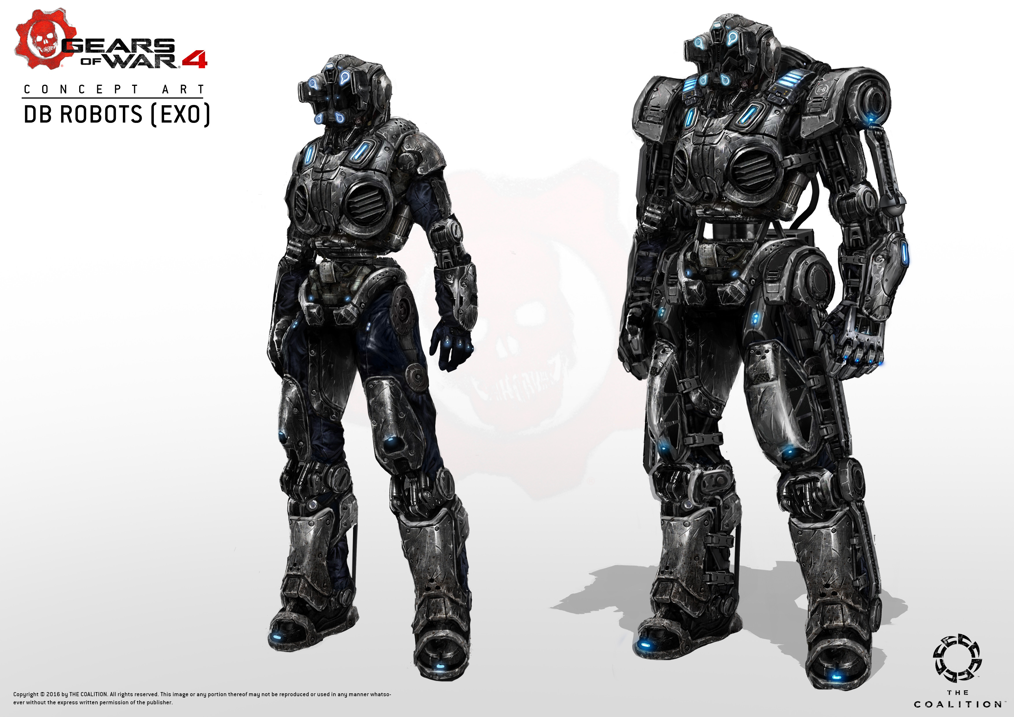 The final look we've set for the EXO suit during the concept stage, it looks so badass in the final model!