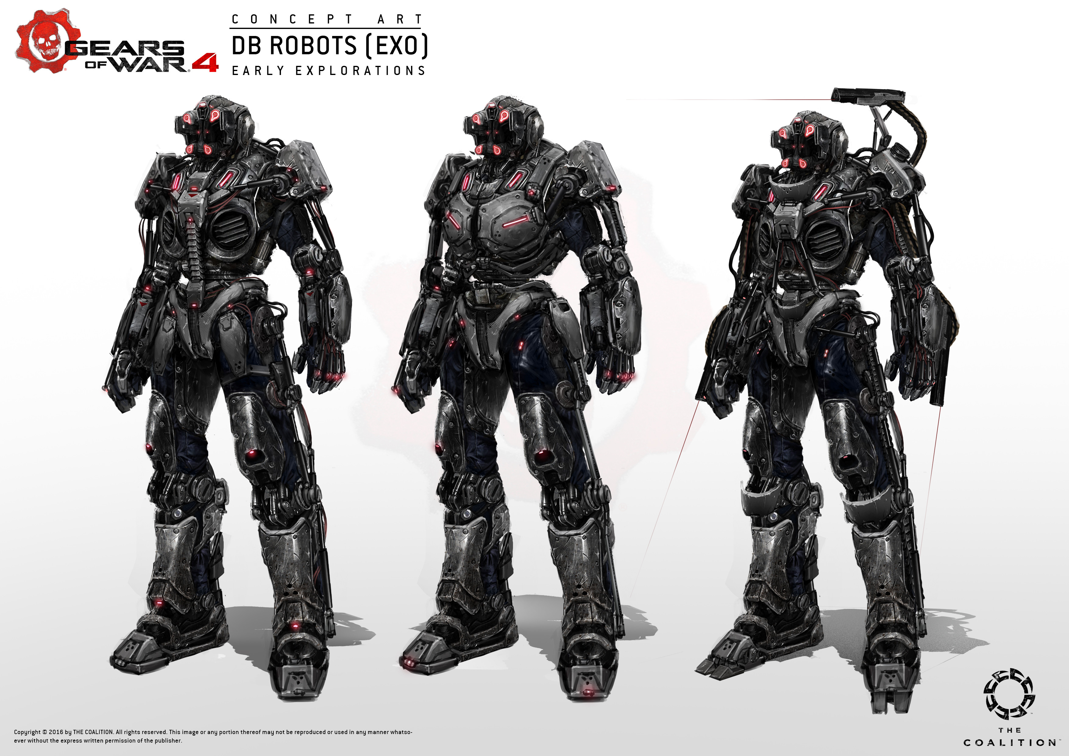 Early explorations of the exo suit. I still remember at one point I proposed that players would be able to rip off the exos from the robots, then put them on for extra devastation haha