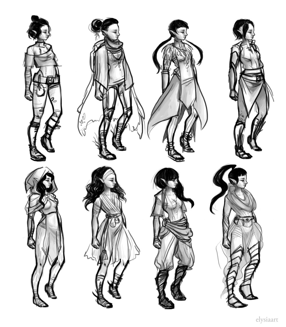 Initial costume sketches