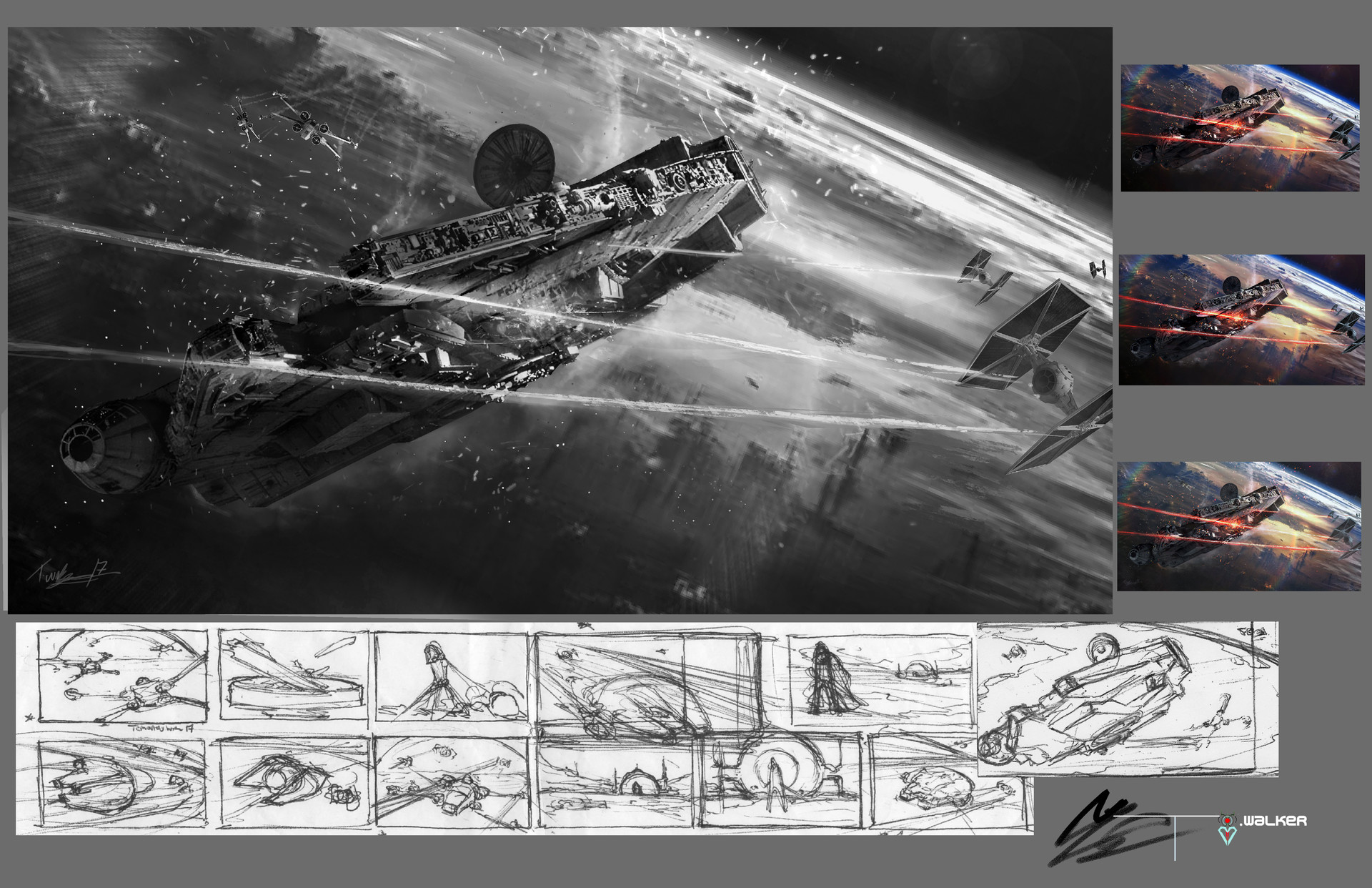 Temarius walker star wars key frame process falcon 01