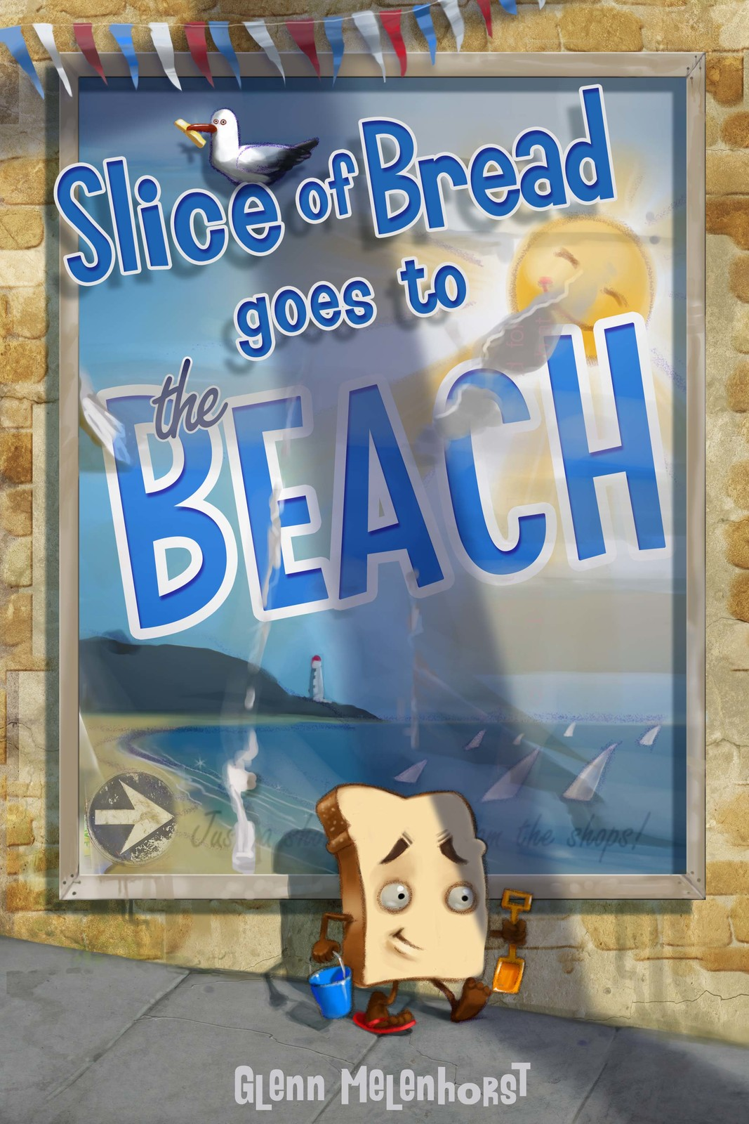 Slice of bread goes to the Beach. Title