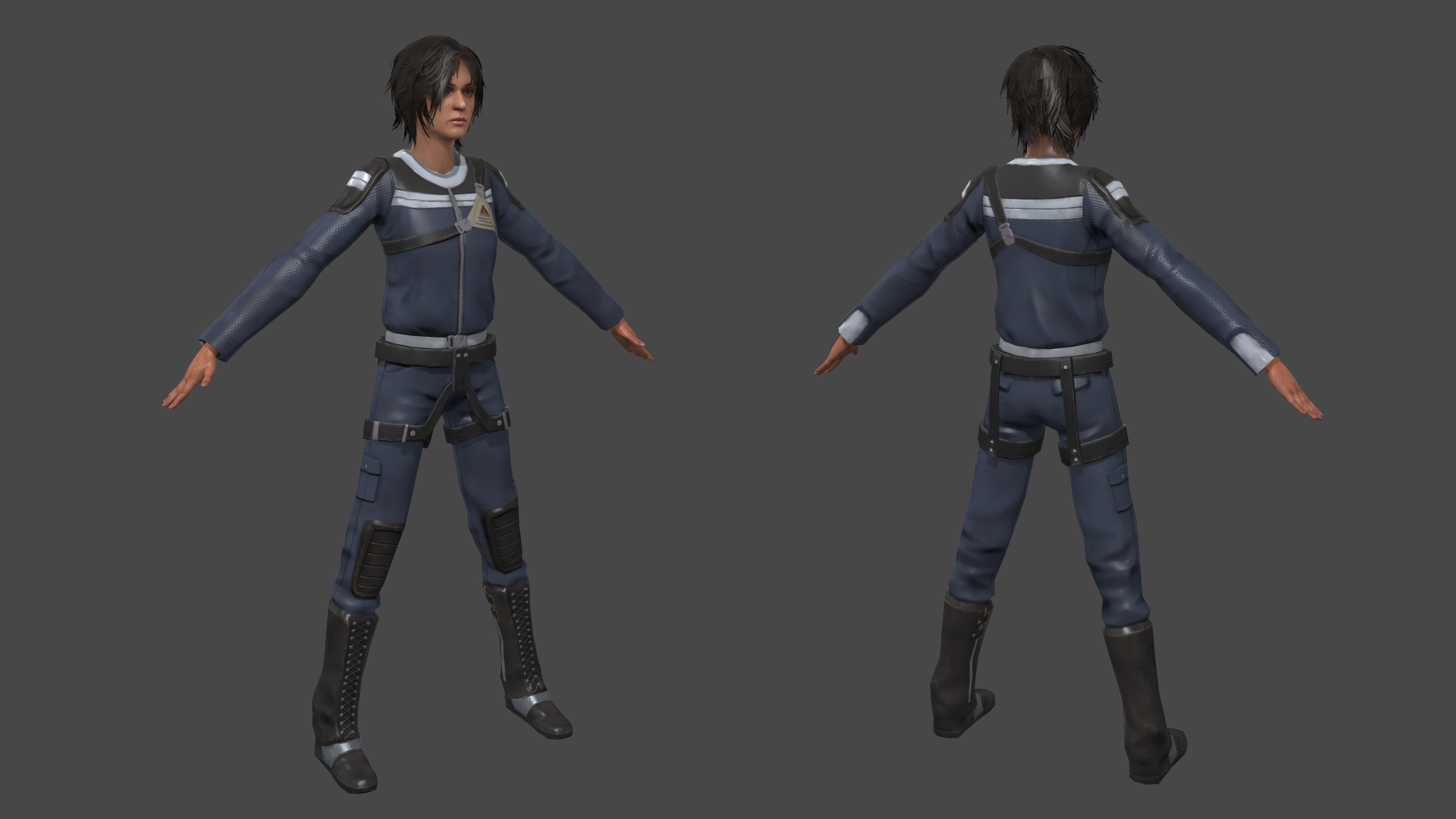Final model in Marmoset.  I only worked on the costume and hands.