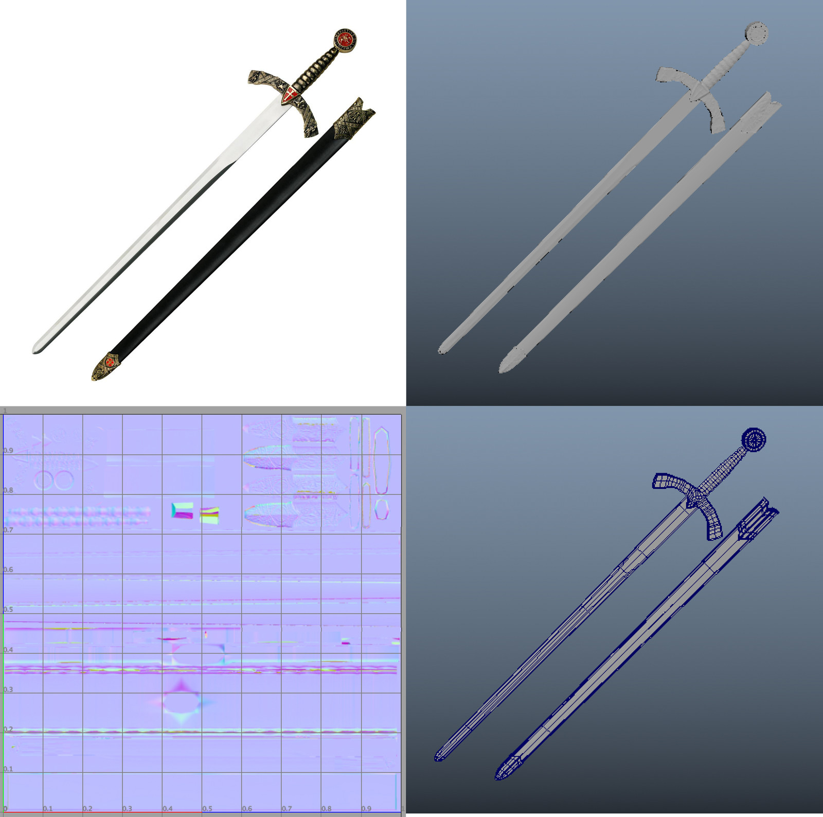 'Sword with scabbard' with UV and detail
