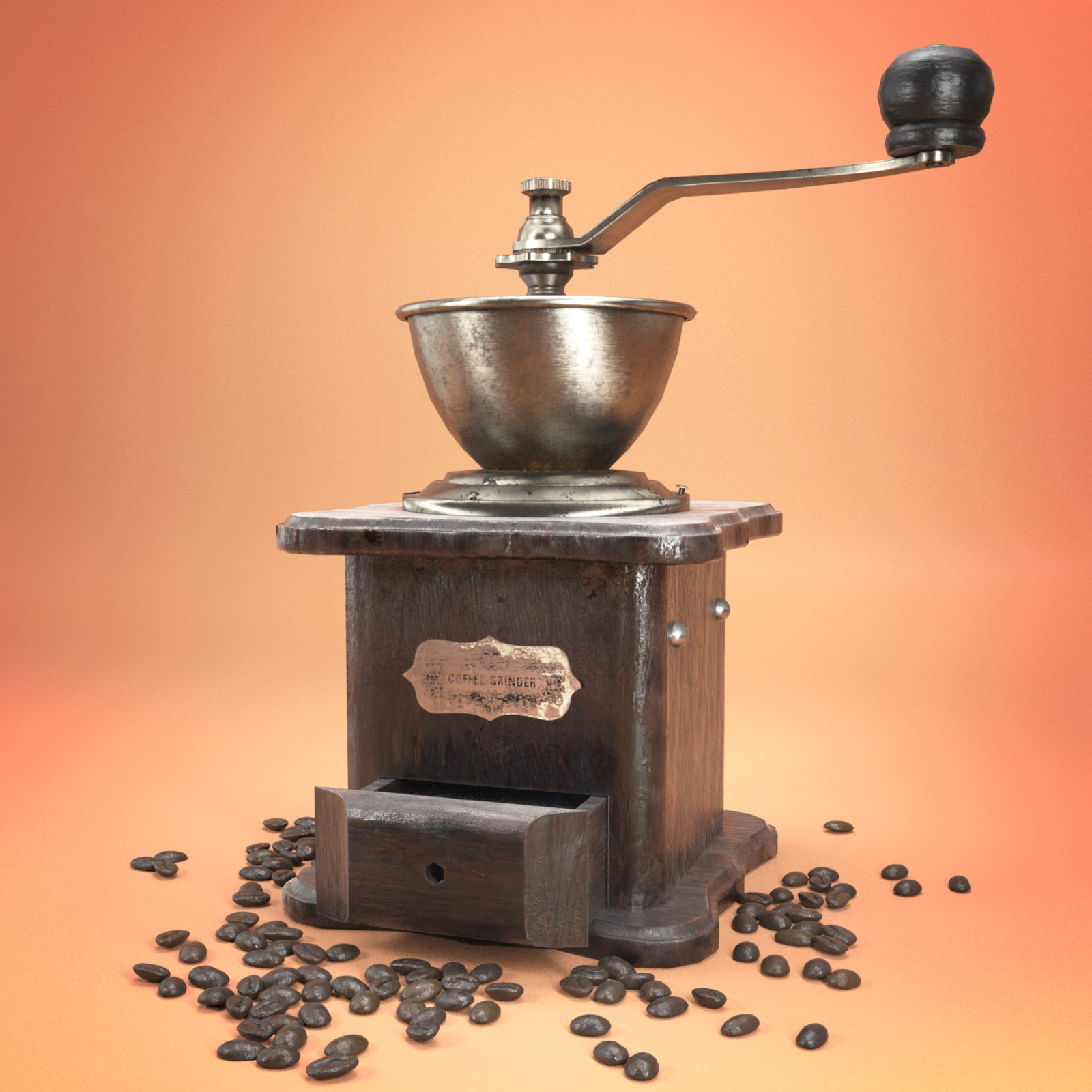 3229 Faces (Coffee Grinder). Rendered with Cycles.