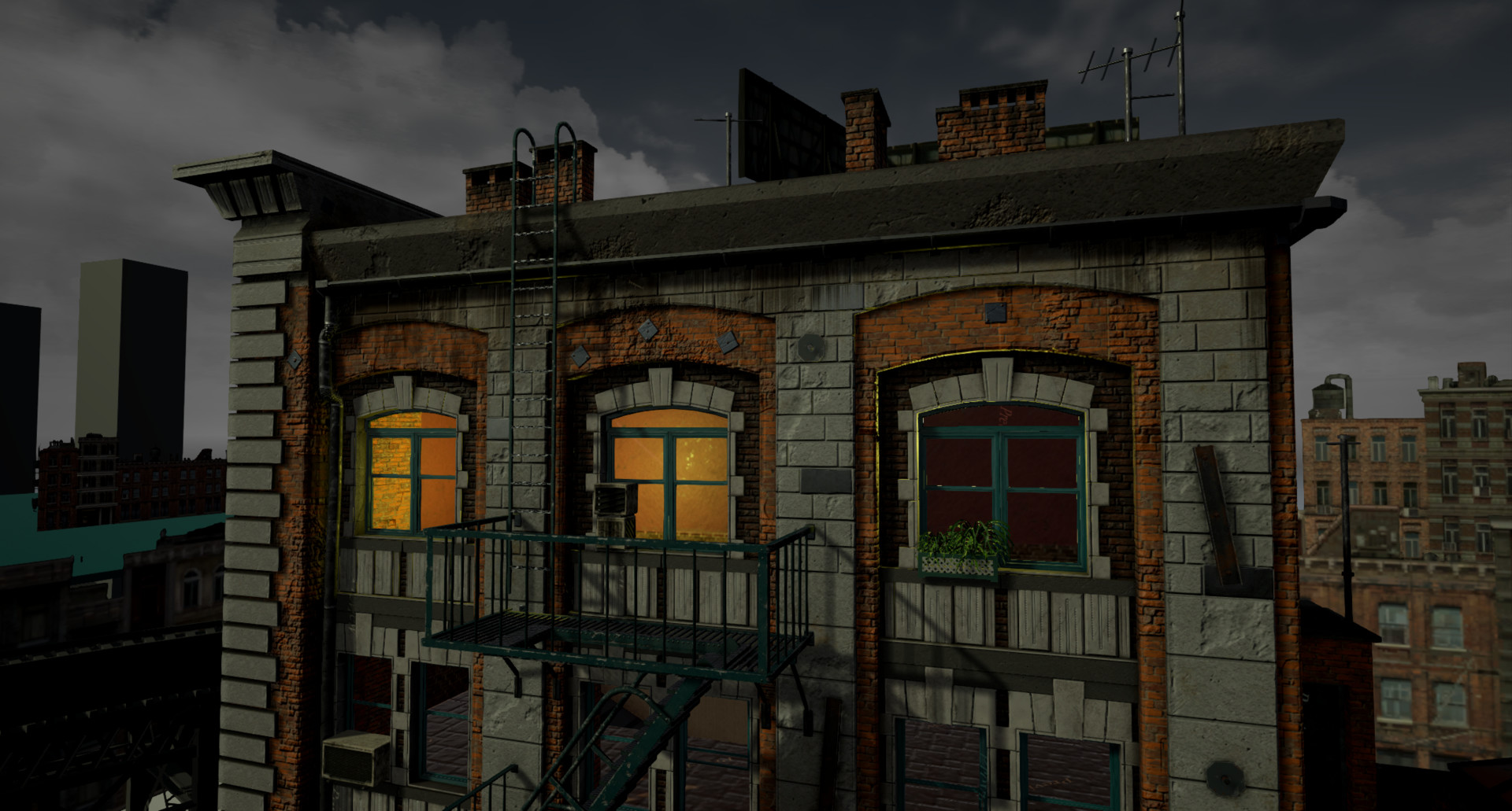 Early ingame render of the top facade ofthe main building