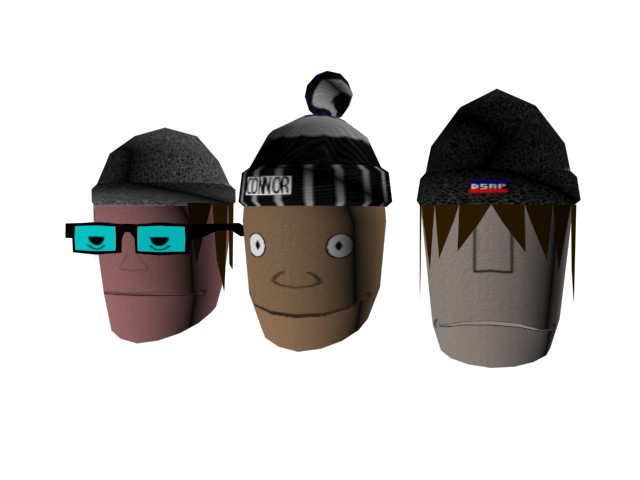 (Left to right: Kevin, Connor and Calum) Three heads as they were nearly finished. These heads were actually approved by the folks they were based on, despite not being flattering.