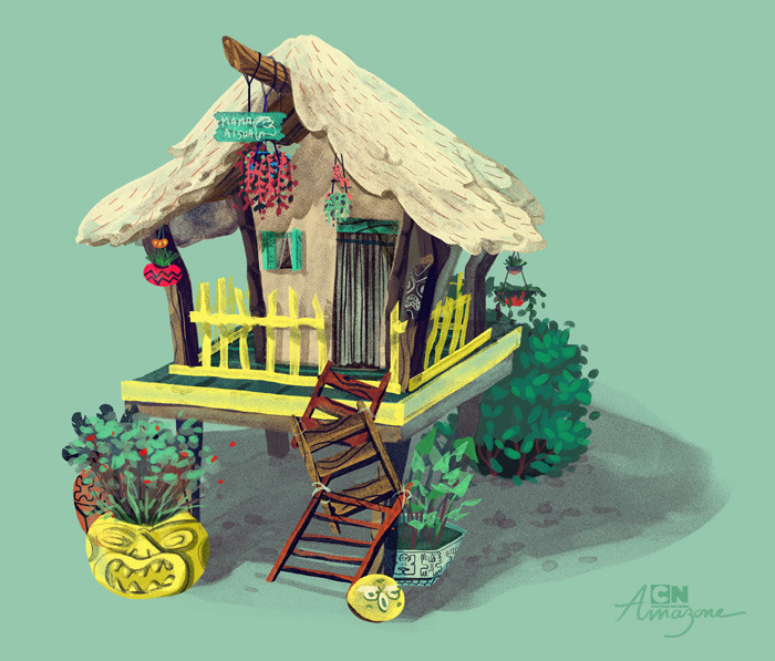 Anais marmonier anais marmonier concept art cartoon network amazone tropical island hut