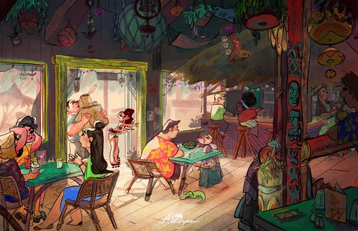 Anais marmonier anais marmonier concept art cartoon network amazone tropical island tikibar
