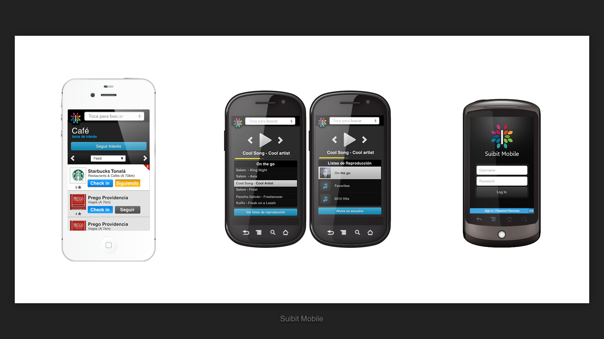 Some of the Suibit Mobile screens, a special design for mobiles.