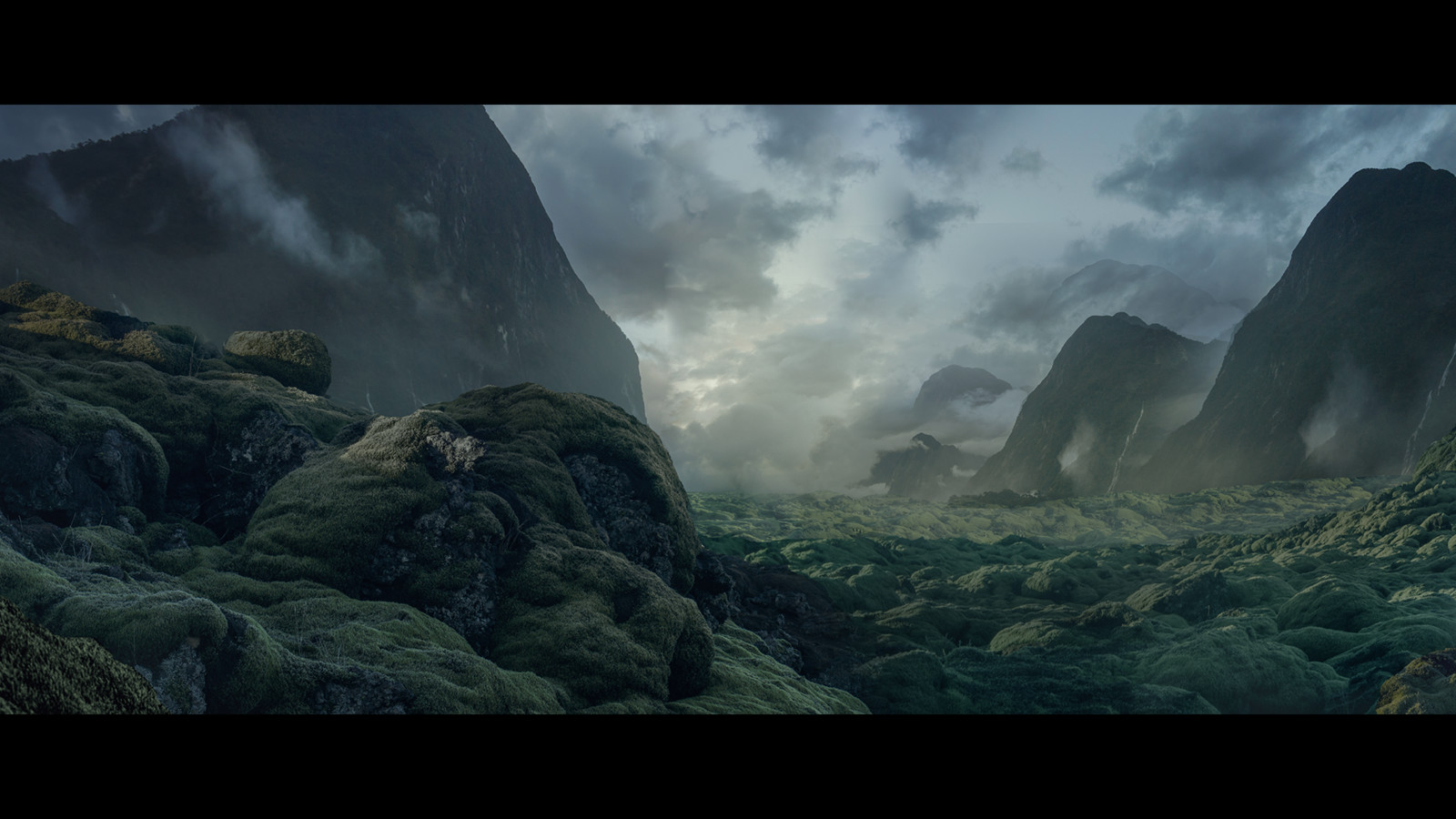 Alien planet matte painting still.