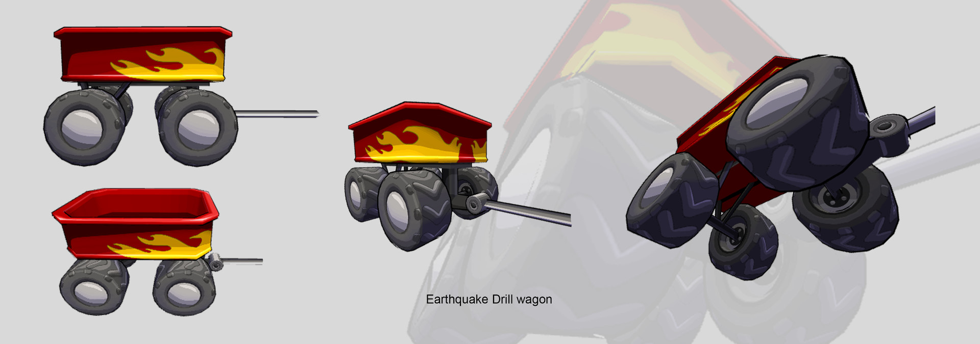 Earthquake drill wagon Model and texture