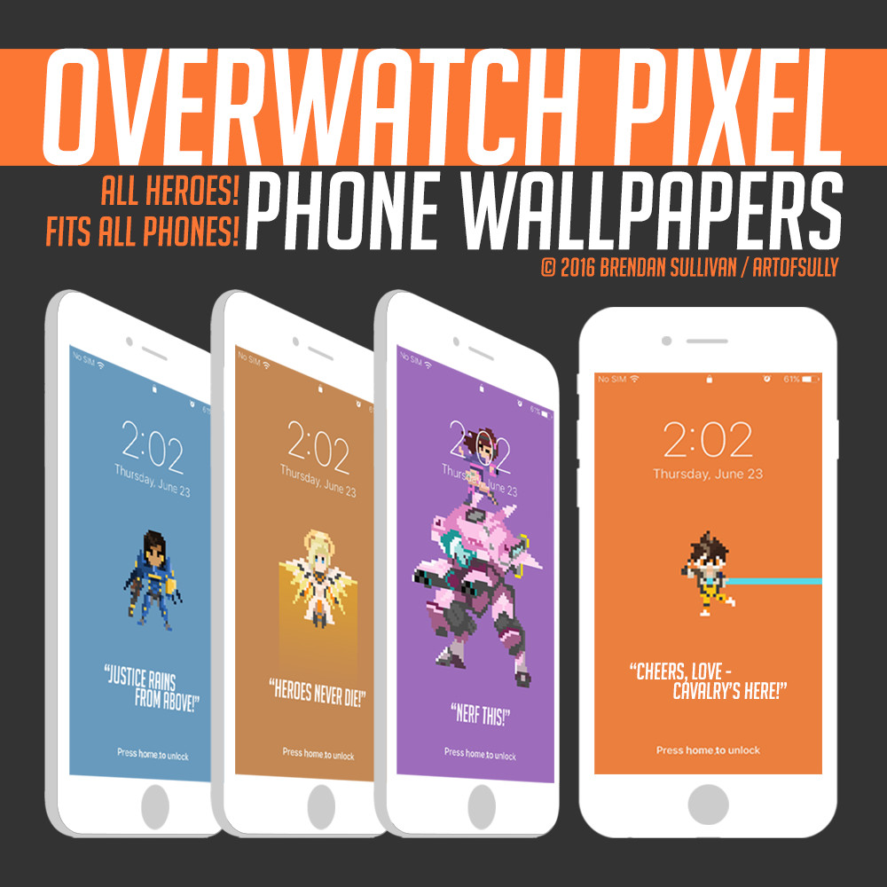 Overwatch Pixel Art - Phone Wallpapers