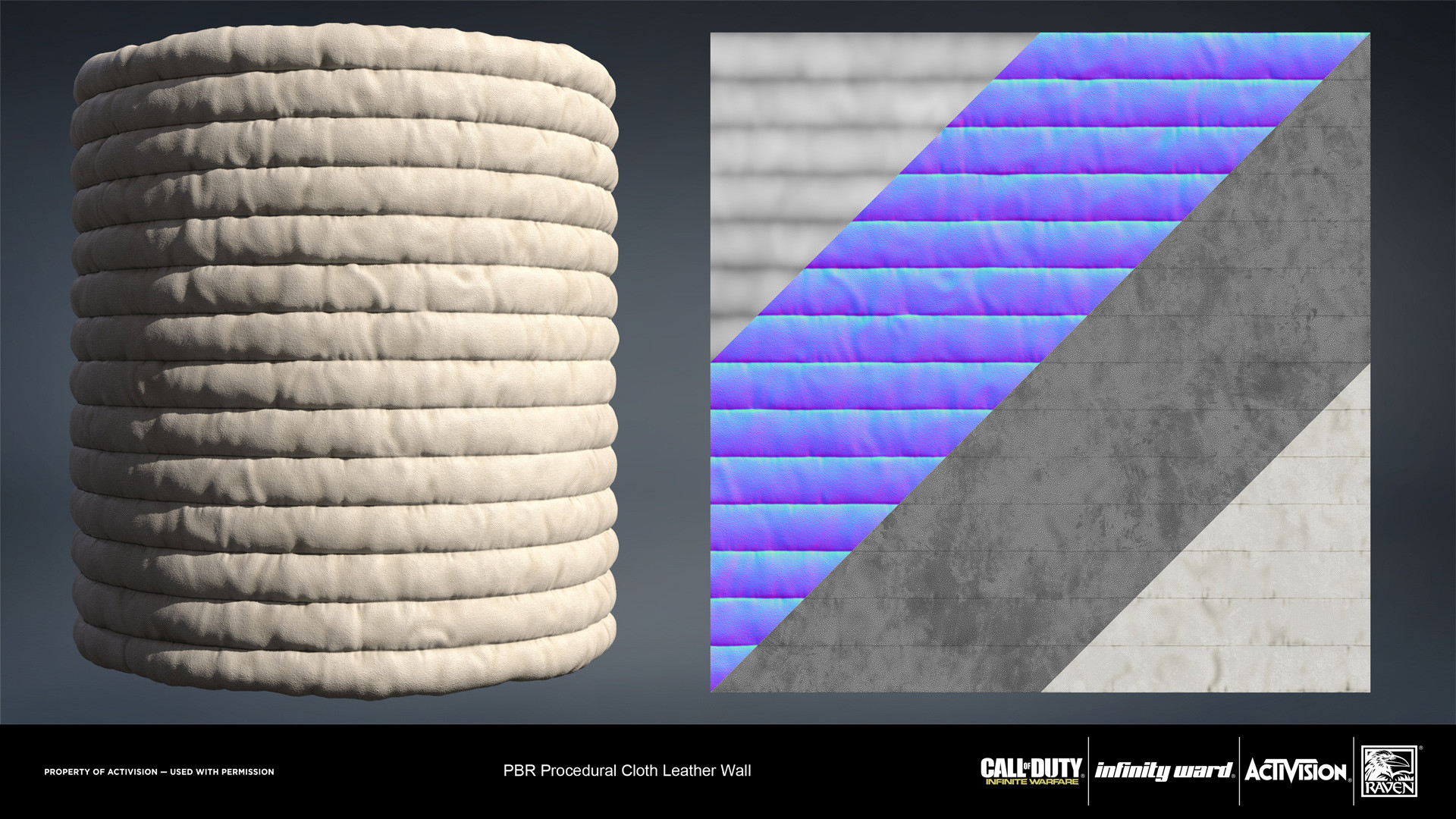 Cloth padded leather wall. Created entirely in Substance Designer.