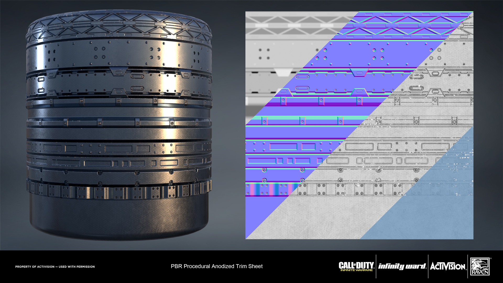 Anodized metal trim sheet. Created entirely in Substance Designer.