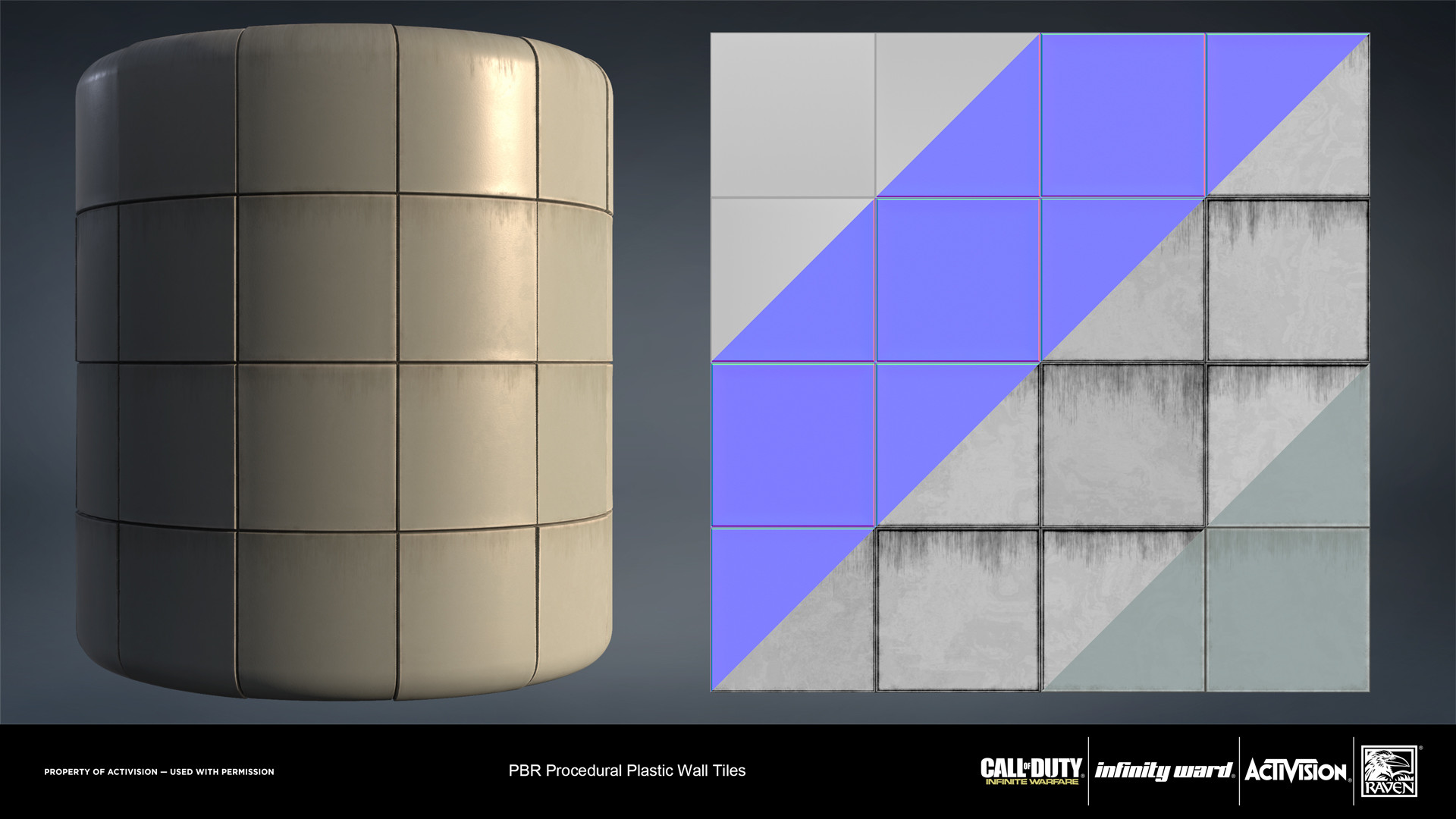Plastic wall panel material. Created entirely in Substance Designer.