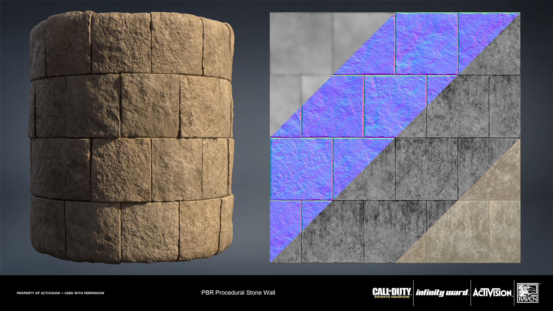 Stone wall material. Created entirely in Substance Designer.