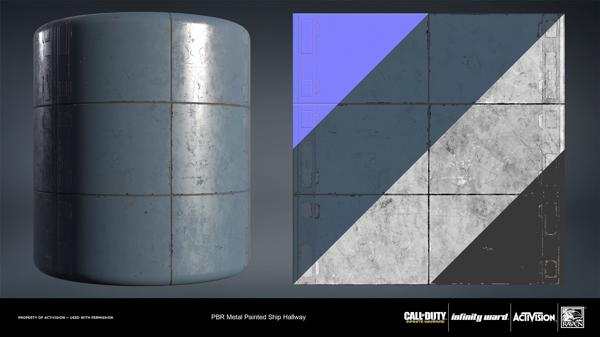 Metal painted ship hallway material. Created in nDo and Substance Designer.