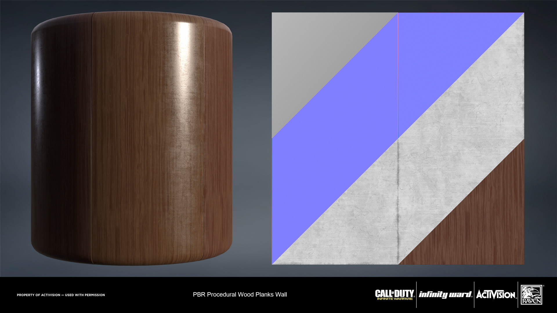 Wood planks wall material. Created entirely in Substance Designer.