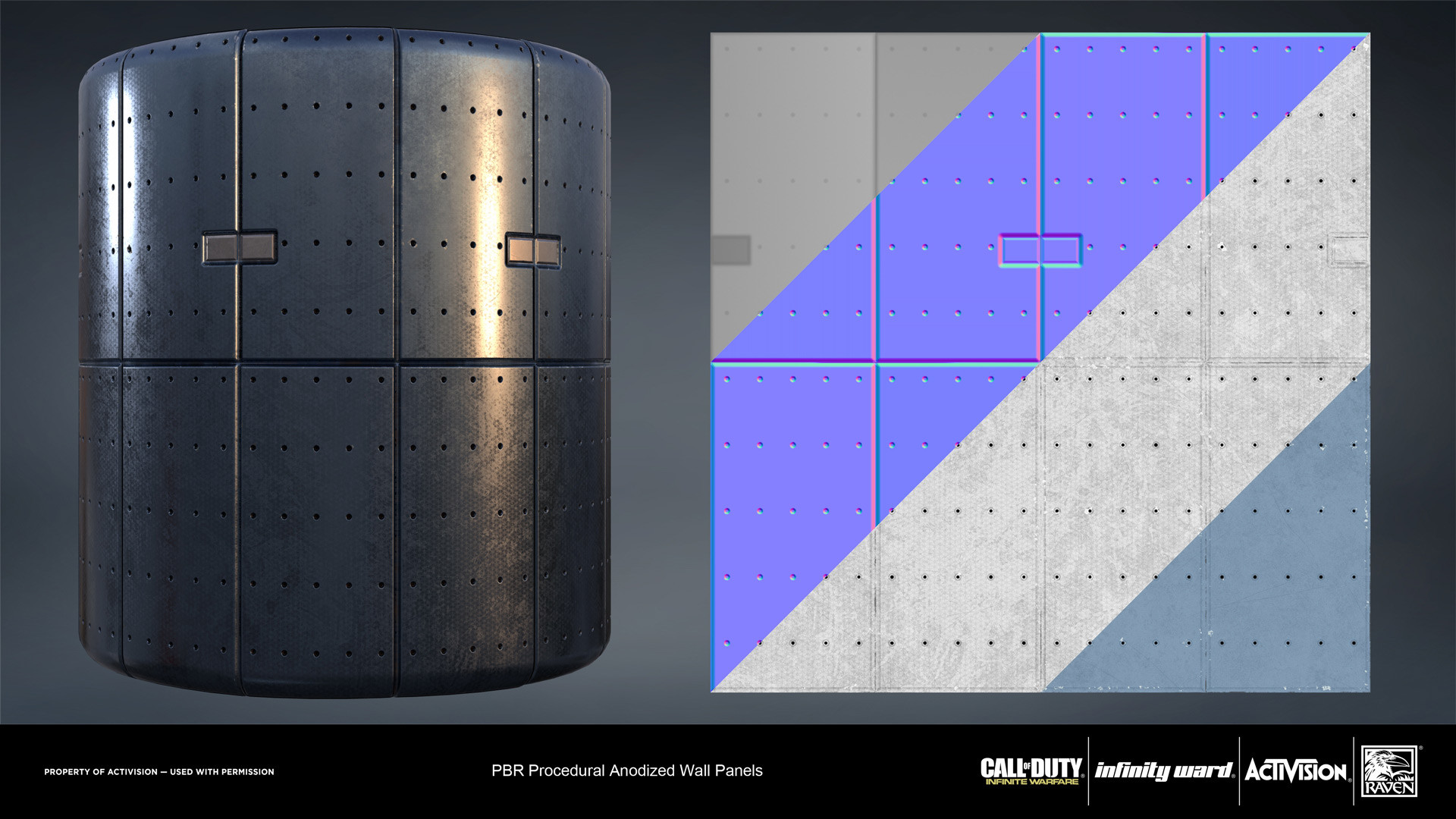 Anodized metal panels sheet. Created entirely in Substance Designer.