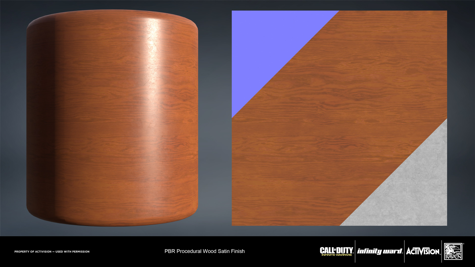 Wood satin finish material. Created entirely in Substance Designer.
