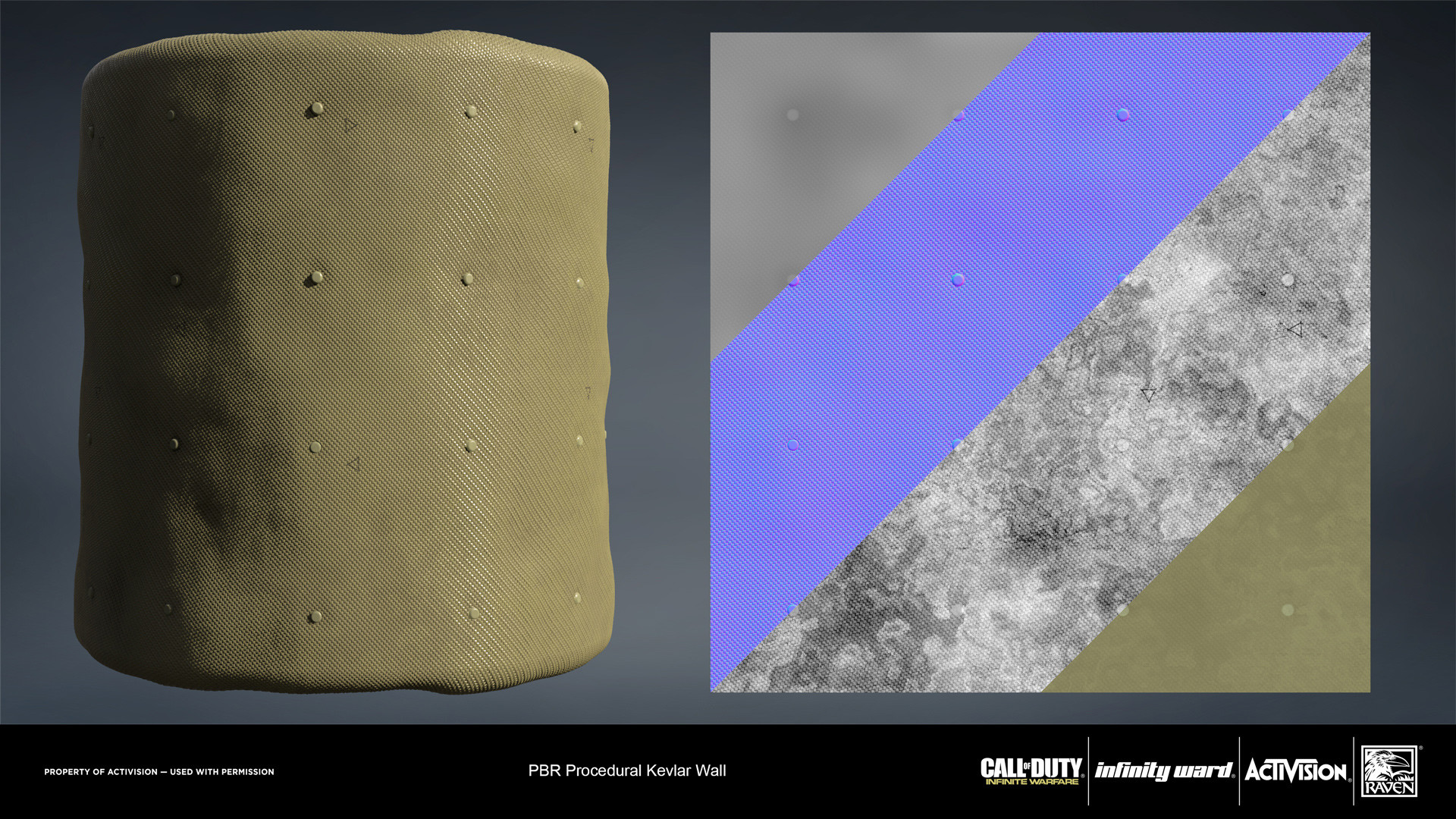 Kevlar wall material. Created entirely in Substance Designer.