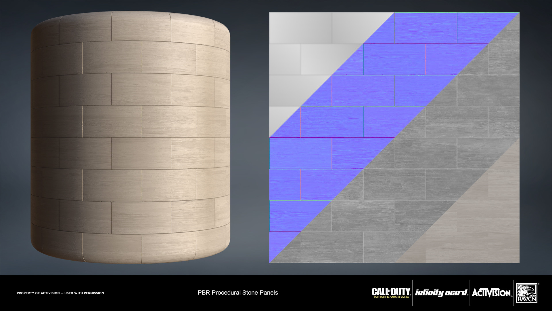 Stone panels material. Created entirely in Substance Designer.