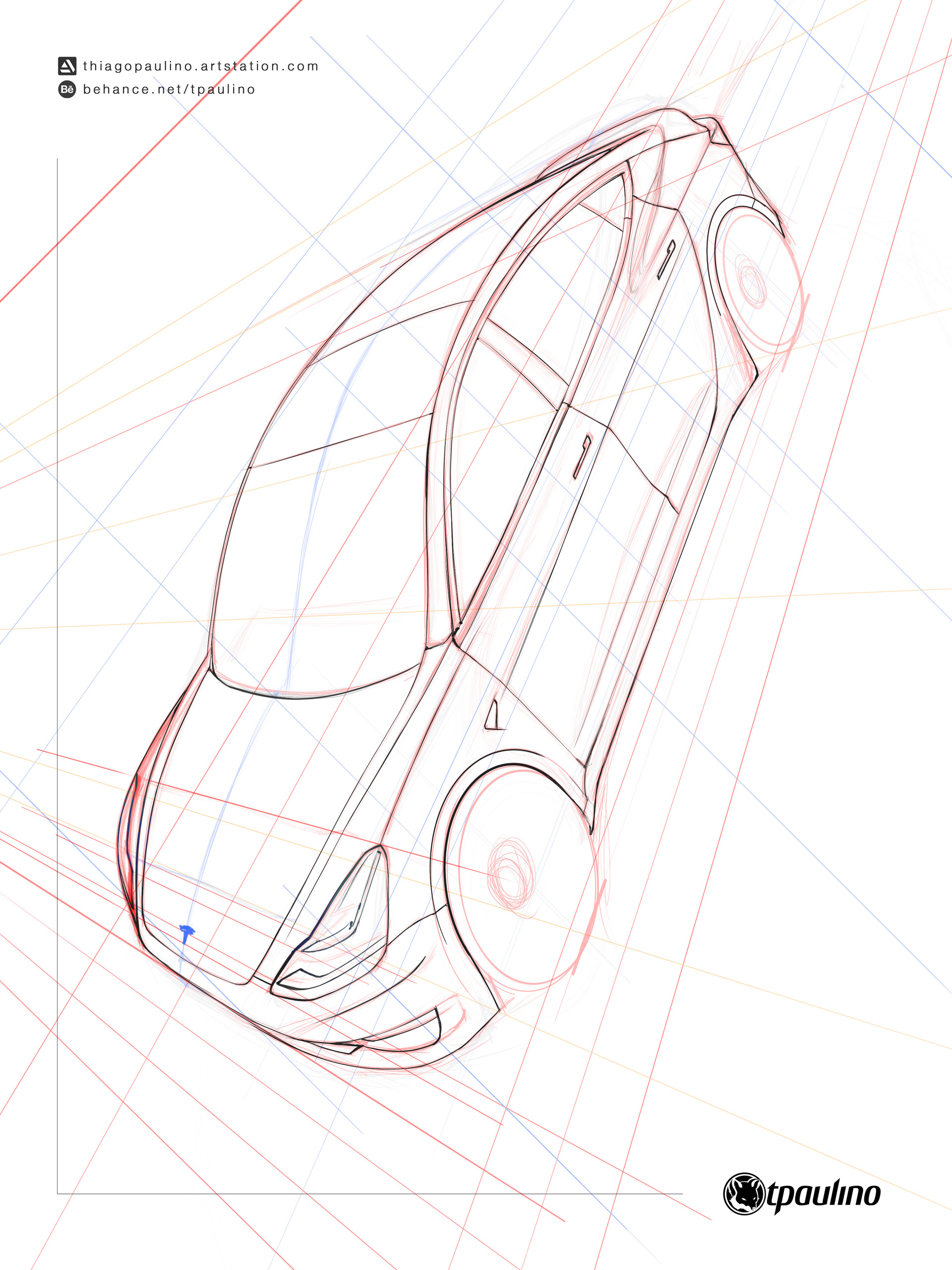 Artstation Tesla Model 3 Sketch Thiago Paulino Motor Design Diagram Pics Scroll To See More