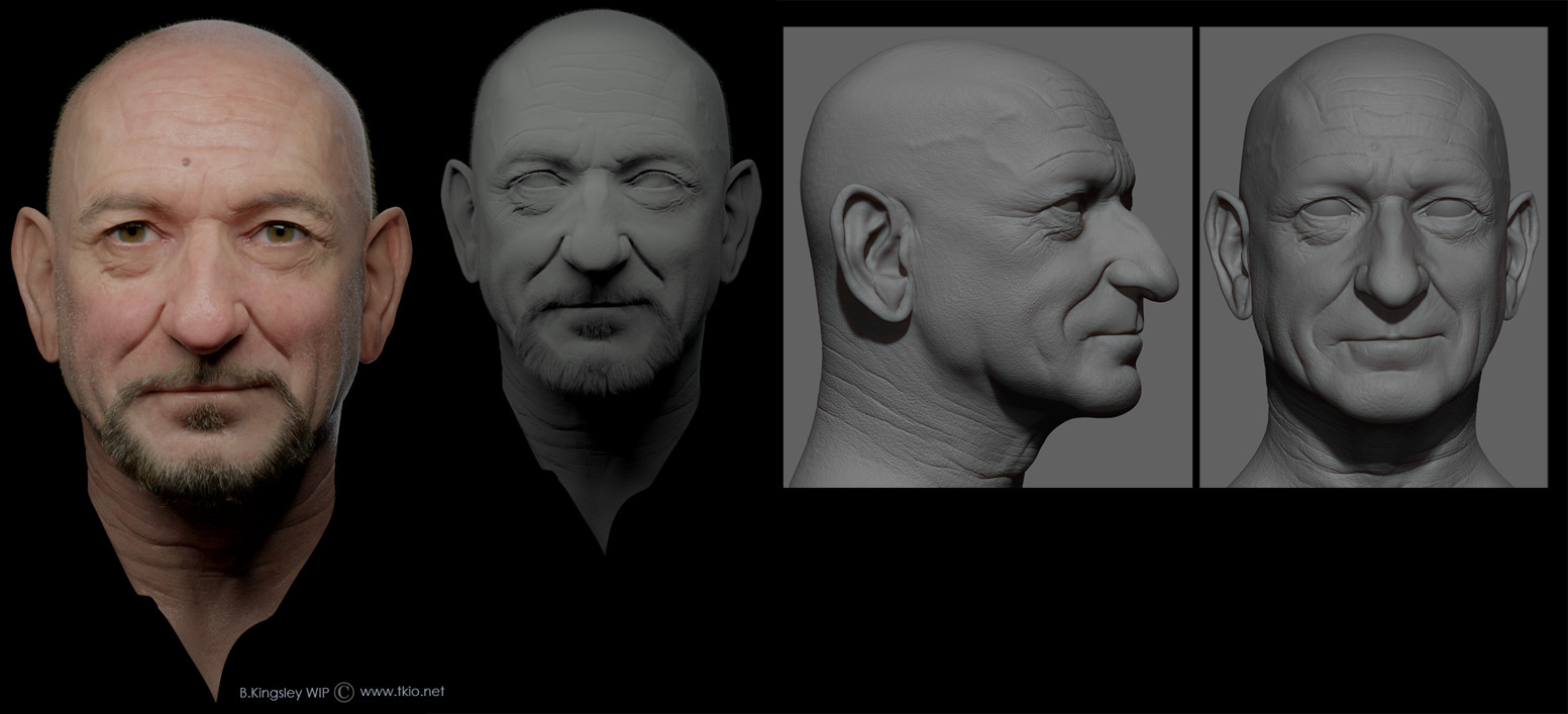 Updated a little bit and added gray render and Zbrush views.