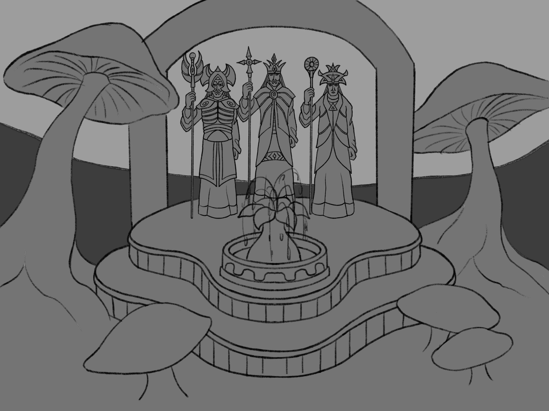 Statues Courtyard Sketch