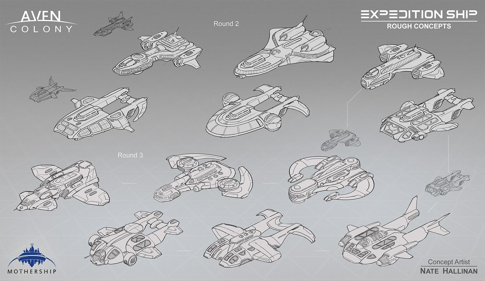 Rounds 2 & 3 for the rough concept designs of the Expedition Ship.
