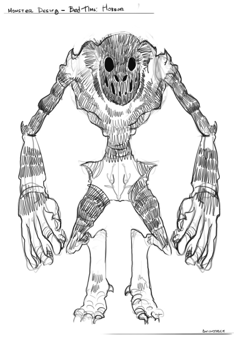 Early concept for the creature, I like the design but sadly this one didn't make it to the end of the piece.